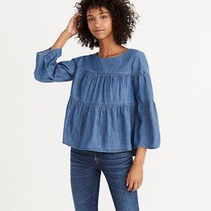 Madewell Tiered Denim Button-Back Top Blue